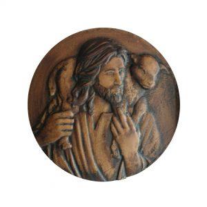 Jesús y cordero, talla en madera