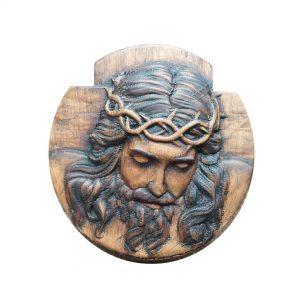 Rostro de Jesús tallado en cedro.